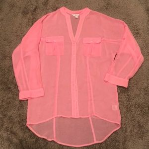 Candies baby pink button up blouse